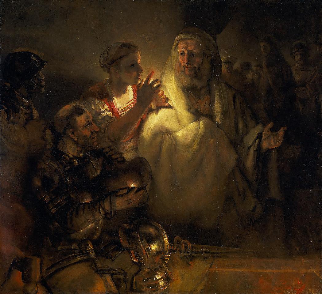 Рембрандт ван Рейн. Отречение Петра. 1660.