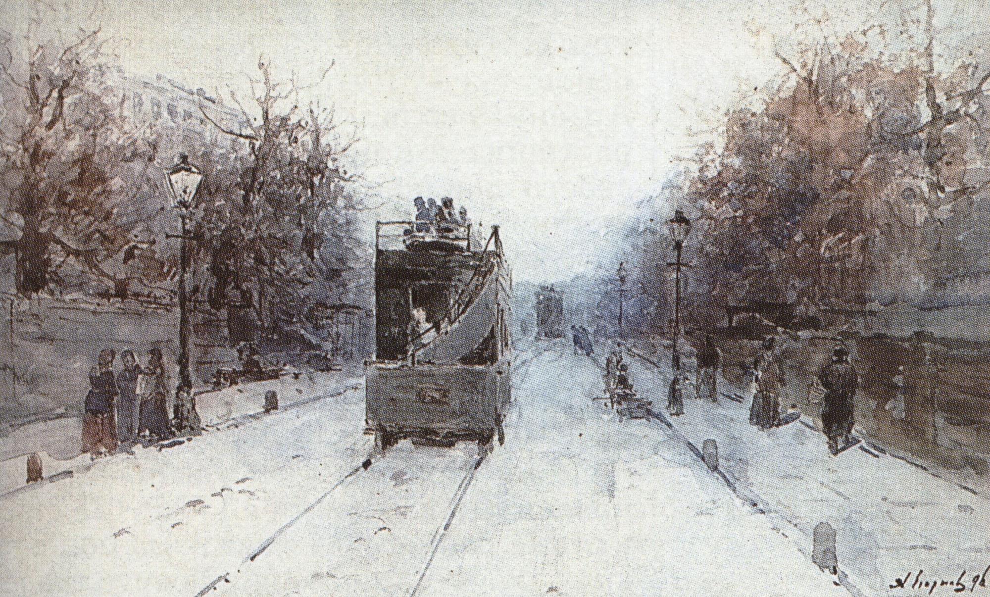 А. Егоров. Рождественский бульвар зимой. 1896.