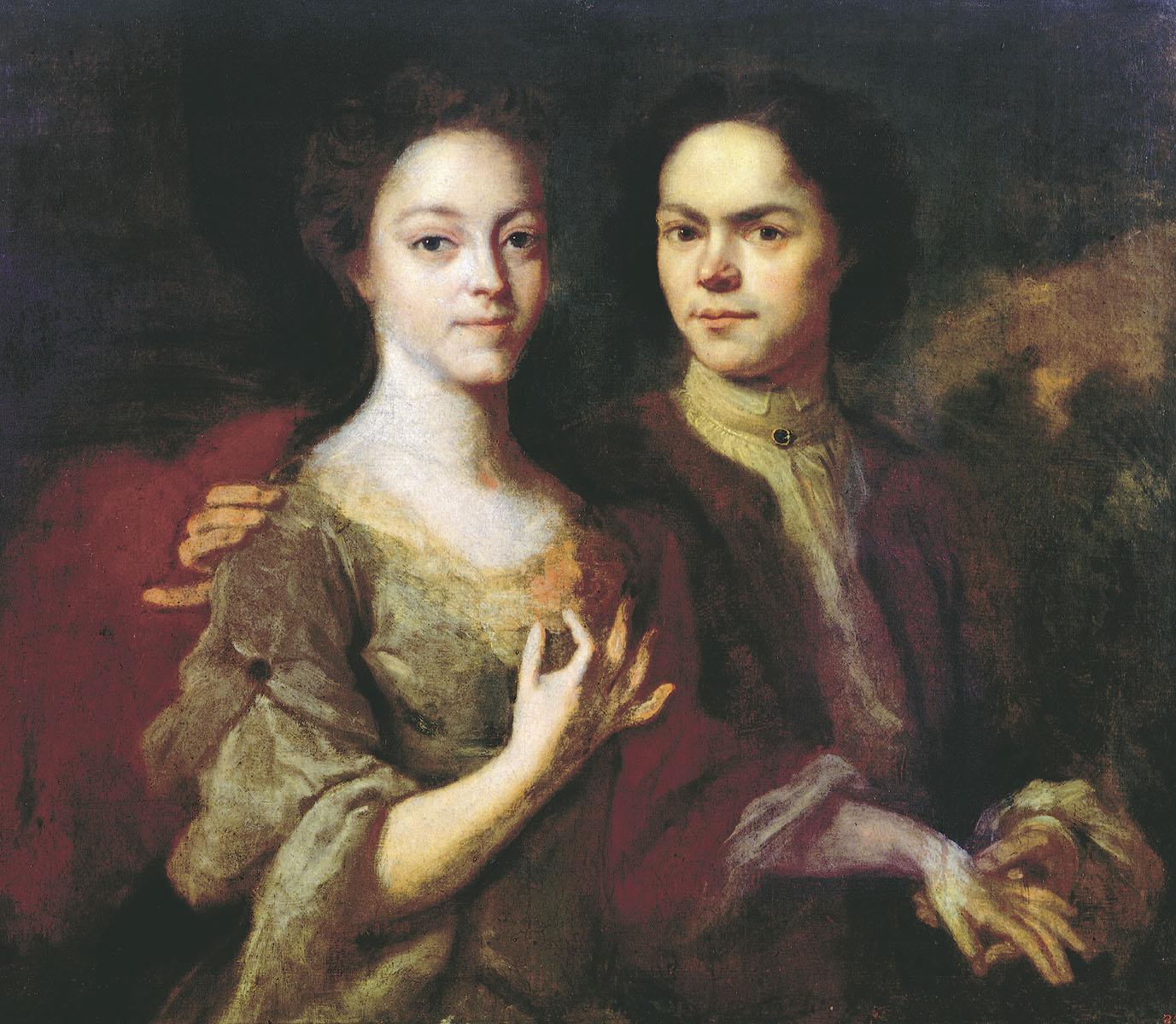 Андрей Матвеев. Автопортрет с женой Ириной Степановной. 1729.